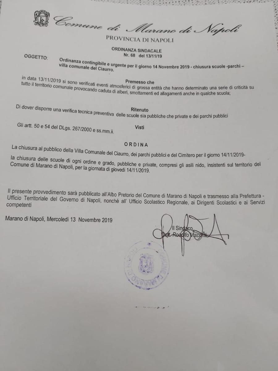 ORDINANZA CHIUSURA SCUOLE PER IL14/11/2019